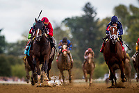LEXINGTON, KY - OCTOBER 07: Rubus with Joe Rocco Jr. defeats Conquistador with Julien Leparoux to break his maiden at Keeneland Race Course on October 07, 2017 in Lexington, Kentucky. (Photo by Alex Evers/Eclipse Sportswire/Getty Images)