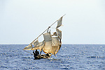 Tanzania. Dhow with ragged sail on Lake Tanganyika.