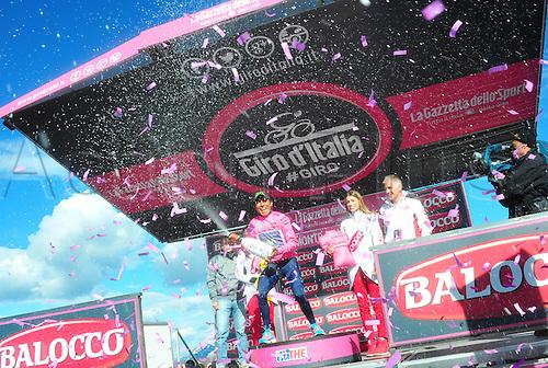 31.05.2014, Maniago to Monte Zoncolan, Italy. Giro D Italia Stage 20.  Movistar 2014, Quintana Rojas Nairo Alexander on the podium in Monte Zoncolan