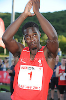 International athletics at Cardiff International stadium, Cardiff, South Wales - Tuesday 15th July 2014<br /> <br /> Christian Malcolm of Wales having run his final race and retiring from athletics. <br /> <br /> <br /> Photo by Jeff Thomas Photography