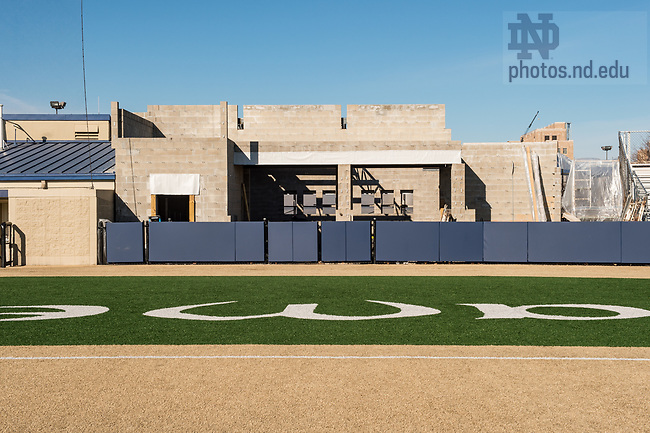 March 22, 2017; Eck Baseball Stadium construction. (Photo by Barbara Johnston/University of Notre Dame)