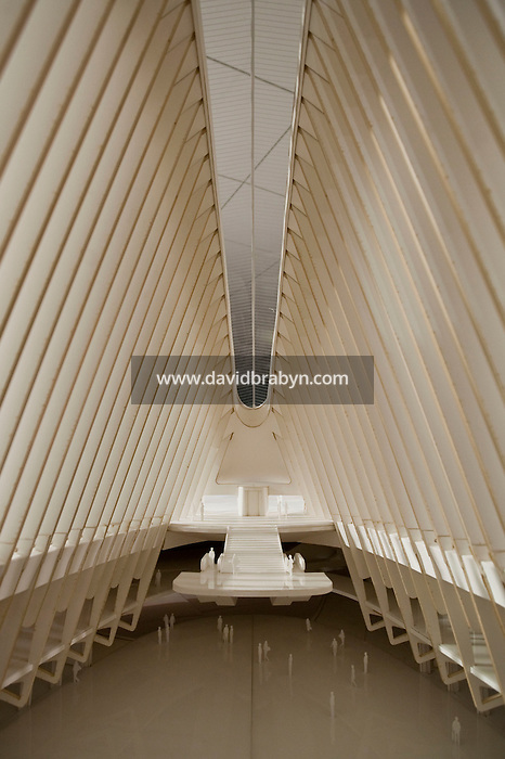 View inside a model of the future New York City World Trade Center Transportation Hub designed by Spanish architect Santiago Calatrava, designer, on display in New York, USA, 8 May 2009.