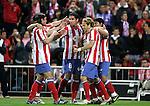 Atletico de Madrid's Tomas Ujfalusi, Raul Garcia, Diego Forlan and Kun Aguero celebrate during La Liga match, April 26, 2009. (ALTERPHOTOS/Alvaro Hernandez).