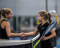 Hilversum, Netherlands, December 4, 2016, Winter Youth Circuit Masters, Isis van den Broek (NED) (R) recieves congratualtions from Yara Hamerling<br /> Photo: Tennisimages/Henk Koster