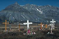 Crosses on barren tundra, Nunamuit Eskimo Village Cemetery, Anatuvuk Pass, Alaska