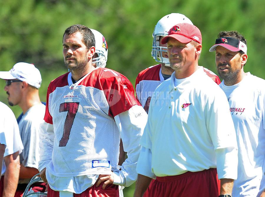 Jul 30, 2008; Flagstaff, AZ, USA; Arizona Cardinals quarterback (7) Matt Leinart stands alongside head coach Ken Whisenhunt during training camp on the campus of Northern Arizona University. Mandatory Credit: Mark J. Rebilas-
