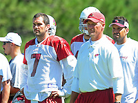 Jul 30, 2008; Flagstaff, AZ, USA; Arizona Cardinals quarterback (7) Matt Leinart stands alongside head coach Ken Whisenhunt during training camp on the campus of Northern Arizona University. Mandatory Credit: Mark J. Rebilas-