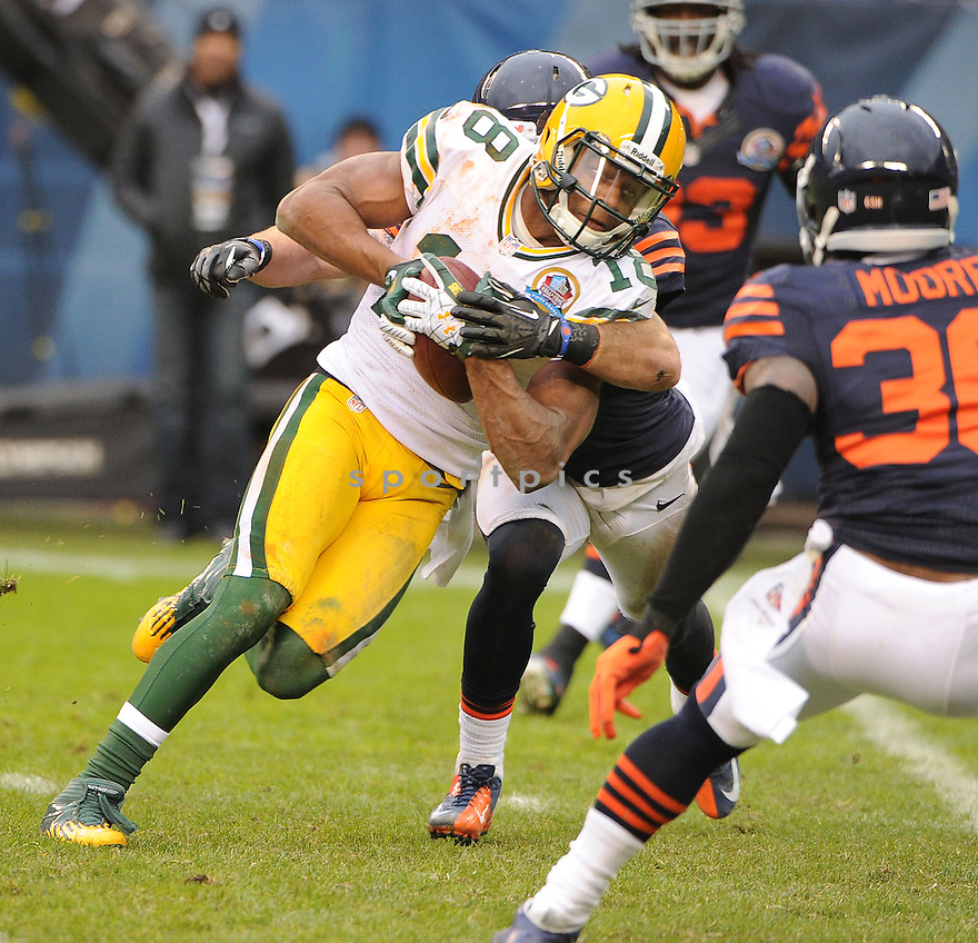 Green Bay Packers Randall Cobb (18) in action during a game against the Bears on December 16, 2012 at Soldier Field in Chicago, IL. The packers beat the Bears 21-13..