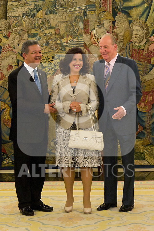 03.07.2012. King Juan Carlos I of Spain attends the Dominican Republic's President Leonel Fernandez and his wife Margarita Cedeño in the Zarzuela Palace. In the image Leonel Fernandez , Juan Carlos I de Borbon and Margarita Cedeño  (Alterphotos/Marta Gonzalez)