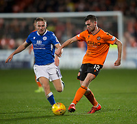 16th November 2019; Tannadice Park, Dundee, Scotland; Scottish Championship Football, Dundee United versus Queen of the South; Sam Stanton of Dundee United and Dan Pybus of Queen of the South  - Editorial Use