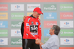 Race leader Christopher Froome (GBR) Team Sky retains the Red Jersey on the podium at the end of Stage 17 of the 2017 La Vuelta, running 180.5km from Villadiego to Los Machucos. Monumento Vaca Pasiega, Spain. 6th September 2017.<br /> Picture: Unipublic/&copy;photogomezsport | Cyclefile<br /> <br /> <br /> All photos usage must carry mandatory copyright credit (&copy; Cyclefile | Unipublic/&copy;photogomezsport)