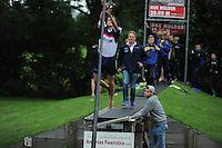FIERLJEPPEN: IT HEIDENSKIP: 29-06-2016, 1e klasse wedstrijd fierleppen, afgelast wegens regen, Rutger Piersma, ©foto Martin de Jong