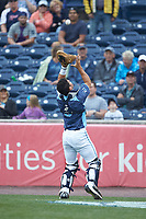 West Michigan Whitecaps catcher Brady Policelli (6) settles under a pop fly during the game against the South Bend Cubs at Fifth Third Ballpark on June 10, 2018 in Comstock Park, Michigan. The Cubs defeated the Whitecaps 5-4.  (Brian Westerholt/Four Seam Images)