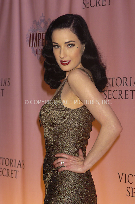 WWW.ACEPIXS.COM . . . . .....November 9 2005, New York City....Dita Von Teese arriving at the 10th annual Victoria's Secret Runway show at the Lexington Armoury in Manhattan. ....Please byline: AJ Sokalner - ACE PICTURES..... *** ***..Ace Pictures, Inc:  ..Philip Vaughan (212) 243-8787 or (646) 769 0430..e-mail: info@acepixs.com..web: http://www.acepixs.com