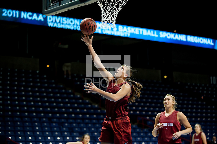 SPOKANE, WA - MARCH 25, 2011: Jeanette Pohlen at the Stanford Women's Basketball, NCAA West Regionals practice at Spokane Arena on March 25, 2011.