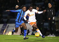 Gillingham's Regan Charles-Cook and Blackpool's Marc Bola<br /> <br /> Photographer Rachel Holborn/CameraSport<br /> <br /> The EFL Sky Bet League One - Gillingham v Blackpool - Tuesday 6th November 2018 - Priestfield Stadium - Gillingham<br /> <br /> World Copyright &copy; 2018 CameraSport. All rights reserved. 43 Linden Ave. Countesthorpe. Leicester. England. LE8 5PG - Tel: +44 (0) 116 277 4147 - admin@camerasport.com - www.camerasport.com