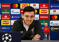 10th March 2020; Anfield, Liverpool, Merseyside, England; UEFA Champions League, Liverpool versus Atletico Madrid, Press Conference; Andrew Robertson of Liverpool speaking to the media during today's press conference at Anfield ahead of tomorrow's Champions League match against Atletico Madrid