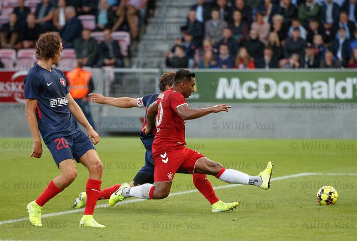 08.08.2019 FC Midtjylland v Rangers: Alfredo Morelos fails to connect