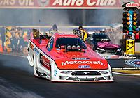 Nov 9, 2018; Pomona, CA, USA; NHRA funny car driver Bob Tasca III during qualifying for the Auto Club Finals at Auto Club Raceway. Mandatory Credit: Mark J. Rebilas-USA TODAY Sports