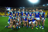 The Warriors celebrate winning the National Rugby League match between the NZ Warriors and Cronulla Sharks at Westpac Stadium in Wellington, New Zealand on Friday, 19 July 2019. Photo: Dave Lintott / lintottphoto.co.nz