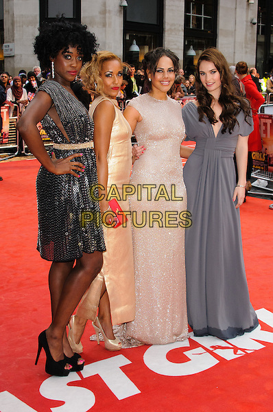 Lashana Lynch, Lorraine Burroughs, Lenora Crichlow and Lily James.The 'Fast Girls' UK film premiere, Odeon West End cinema, Leicester Square, London, England..June 7th, 2012.full length  black gold beige grey gray dress sequins sequined hand on hip.CAP/CJ.©Chris Joseph/Capital Pictures.