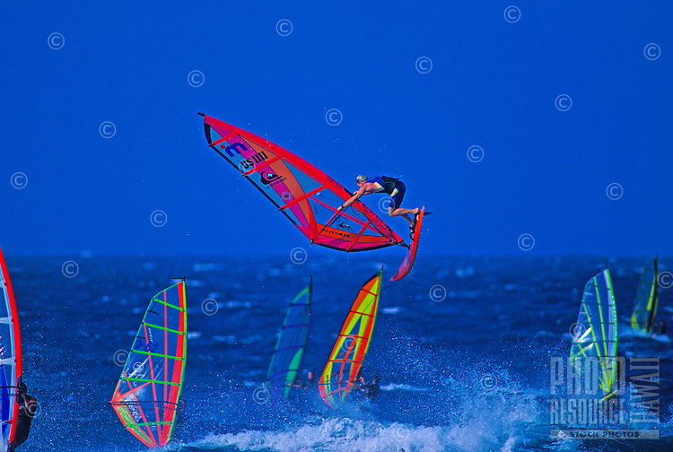 Windsurfers compete for space at Hookipa Beach Park, Maui