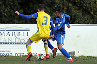 Daniel McCullock of Walthamstow and Jack Martin of Hashtag United during Walthamstow vs Hashtag United, Essex Senior League Football at Wadham Lodge Sports Ground on 30th November 2019
