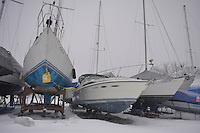 Winter work on yachts at Bridgeview Marina.