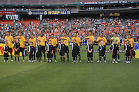 Monarcas Morelia starting XI during the singing of the Mexican National Anthem. Monarcas Morelia tied DC United 1-1 in the SuperLiga opening match of group B, at RFK Stadium in Washington DC, Wednesday July 25, 2007