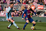 Andres Iniesta of FC Barcelona (R) fights for the ball with Brais Méndez Portela of RC Celta de Vigo (L) during the La Liga 2017-18 match between FC Barcelona and RC Celta de Vigo at Camp Nou Stadium on 02 December 2017 in Barcelona, Spain. Photo by Vicens Gimenez / Power Sport Images