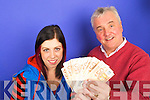 Jim O'Gorman, Kerry's Eye Sports editor, hands.over EUR1,000 to lucky reader Louise Shine, Killarney   Copyright Kerry's Eye 2008