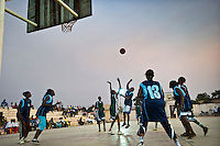 Women's basketball game in Juba. Many South Sudanese play professional basketball in the USA, and since the peace agreement, more team scouts and sports managers are travelling to Juba looking for new talent. Central Equatoria, South Sudan.