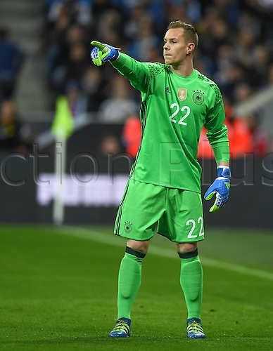 29.03.2016. Munich, Germany. International soccer match between Germany and Italy, at the Allianz Arena in Munich.  Keeper Marc Andre ter Stegen (Ger) gives instructions