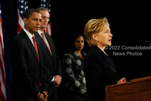 Chicago, IL - December 1, 2008 -- United States Senator Hillary Rodham Clinton (Democrat of New York), right, speaks to the press after being introduced as United States President-elect Barack Obama's, left, nominee for Secretary of State.  Obama also introduced James L. Jones, middle, chosen as national security advisor, and Susan Rice, chosen as United Nations ambassador, Monday morning, December 1, 2008 at the Chicago Hilton & Towers in Chicago, Illinois..Credit: Anne Ryan - Pool via CNP