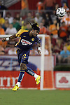 25 July 2007:  Alvin Mendoza (22) of Club America heads the ball.  Club America was defeated by the Houston Dynamo 0-1 at Robertson Stadium in Houston, Texas, in a first round SuperLiga 2007 match.