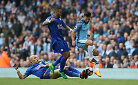 Manchester City's Sergio Aguero battles with Leicester City's Danny Simpson and Yohan Benalouane<br /> <br /> Photographer Stephen White/CameraSport<br /> <br /> The Premier League - Manchester City v Leicester City - Saturday 13th May 2017 - Etihad Stadium - Manchester<br /> <br /> World Copyright &copy; 2017 CameraSport. All rights reserved. 43 Linden Ave. Countesthorpe. Leicester. England. LE8 5PG - Tel: +44 (0) 116 277 4147 - admin@camerasport.com - www.camerasport.com