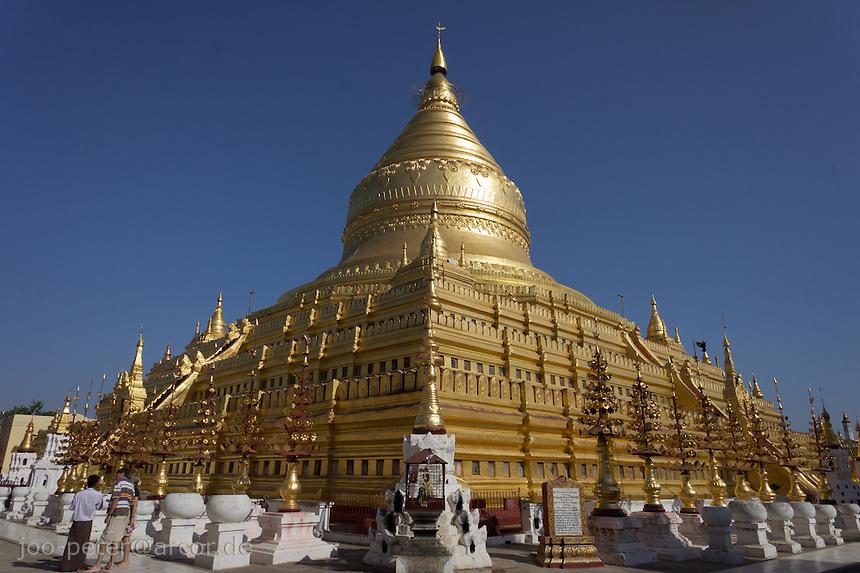 Shwezigon Pagoda, village Niaung U, Bagan archeological site, Myanmar