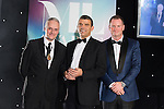 © Joel Goodman - 07973 332324 . 03/03/2016 . Manchester , UK . Michael Hardacre , president of Manchester Law Society , Team of the Year winner PI / Clinical Negligence MATTHEW BROWN (obo Irwin Mitchell Solicitors ) (centre) . The Manchester Legal Awards from the Midland Hotel . Photo credit : Joel Goodman