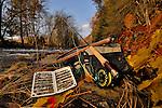 Fly fishing gear streamside in the fall