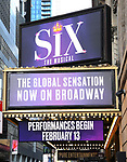 """Theatre Marquee unveiling for """"Six"""" staged as a pop concert starring the six wives of King Henry VIII: Catherine of Aragon, Anne Boleyn, Jane Seymour, Anne of Cleves, Katherine Howard, and Catherine Parr at the Brooks Atkinson Theatre  on January 17, 2020 in New York City."""