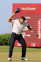 Adri Arnaus (ESP) celebrates on the 18th green during the final round of the Ras Al Khaimah Challenge Tour Grand Final played at Al Hamra Golf Club, Ras Al Khaimah, UAE. 03/11/2018<br /> Picture: Golffile | Phil Inglis<br /> <br /> All photo usage must carry mandatory copyright credit (&copy; Golffile | Phil Inglis)