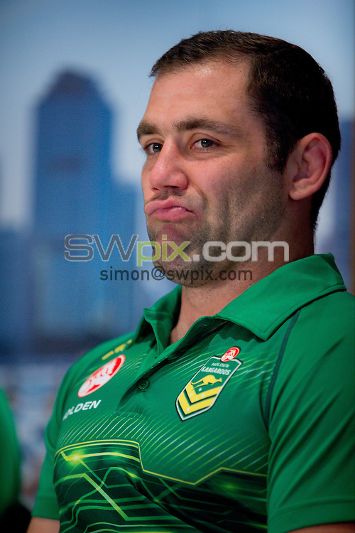 Picture by Patrick Hamilton/ www.photosport.co.nz/SWpix.com - Australian captain Cameron Smith during a preview 4 Nations press conference, Brisbane Australia on October 24, 2014.