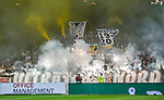 Solna 2015-08-10 Fotboll Allsvenskan AIK - Djurg&aring;rdens IF :  <br /> Vy &ouml;ver Friends Arena under pausen med r&ouml;k efter att AIK:s supportrar eldar med bengaler inf&ouml;r den andra halvleken av matchen mellan AIK och Djurg&aring;rdens IF <br /> (Foto: Kenta J&ouml;nsson) Nyckelord: AIK Gnaget Friends Arena Allsvenskan Djurg&aring;rden DIF inomhus interi&ouml;r interior supporter fans publik supporters r&ouml;k bengal bengaler