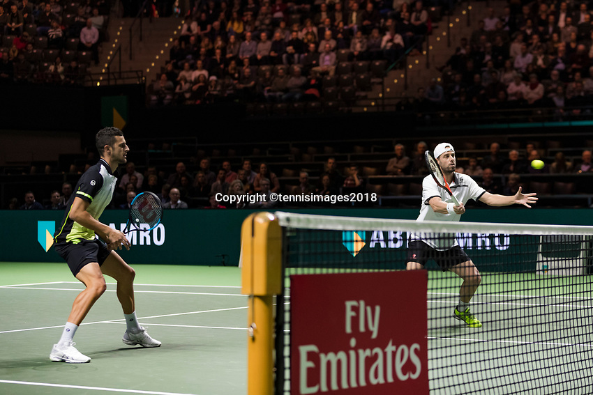 Rotterdam, The Netherlands, 17 Februari, 2018, ABNAMRO World Tennis Tournament, Ahoy, Tennis, Semi Final doubles: Mate Pavic (CRO) / Oliver Marach (AUT)<br /> <br /> Photo: www.tennisimages.com