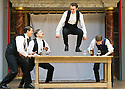 Blue Stockings by Jesscia Swale . A Shakespeare's Globe Production directed by John Dove. With Perri Snowdon as Holmes, Tommy Lawrence as Lloyd, Joshua Silver as Ralph,  Matthew Tennyson as Edwards. Opens at Shakespeare's Globe Theatre  on 29/8/13  pic Geraint Lewis