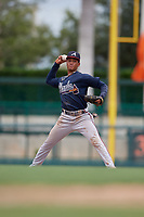 GCL Braves third baseman Luidemid Rojas (1) throws to first base during a Gulf Coast League game against the GCL Orioles on August 5, 2019 at Ed Smith Stadium in Sarasota, Florida.  GCL Orioles defeated the GCL Braves 4-3 in the second game of a doubleheader.  (Mike Janes/Four Seam Images)