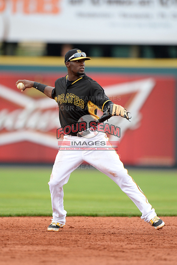 Shortstop Alen Hanson (63) of the Pittsburgh Pirates during a spring training game against the New York Yankees on February 26, 2014 at McKechnie Field in Bradenton, Florida.  Pittsburgh defeated New York 6-5.  (Mike Janes/Four Seam Images)
