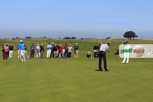 Colm Campbell Jnr. (Warrenpoint), Marco Penge (ENG) and Jack Hume (Naas) on the 14th green during Round 4 of the Flogas Irish Amateur Open Championship at Royal Dublin on Sunday 8th May 2016.<br /> Picture:  Golffile / Thos Caffrey