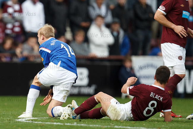 Ian Black goes in late on Steven Naismith, is booked and immediately subbed