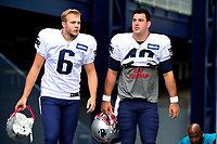 August 8, 2017: New England Patriots punter Ryan Allen (6) and left safety Joe Cardona (49) make their way to the practice fields at the New England Patriots training camp held at Gillette Stadium, in Foxborough, Massachusetts. Eric Canha/CSM